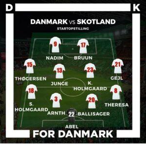 Algarve Cup dansk startopstilling mod Skotland
