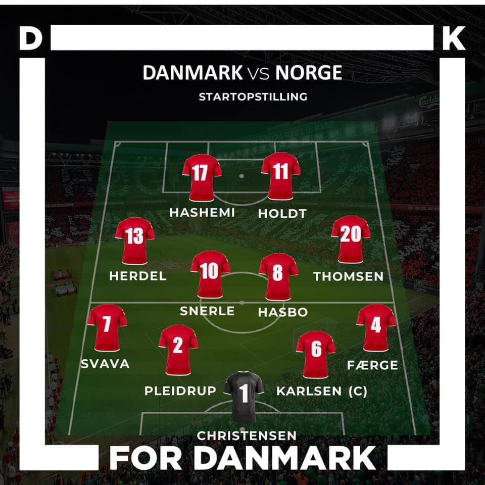 U19 startopstilling mod Norge
