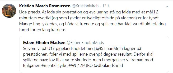 Kristian Mørch på Twitter efter nederlag til Portugal