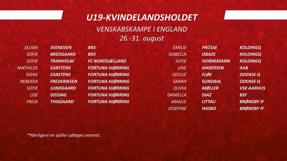 U19 venskabskampe mod England 2019