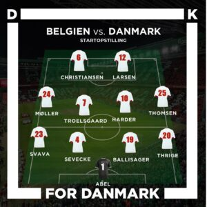 Danmarks Startopstilling mod Belgien Algarve Cup 2020 grafisk